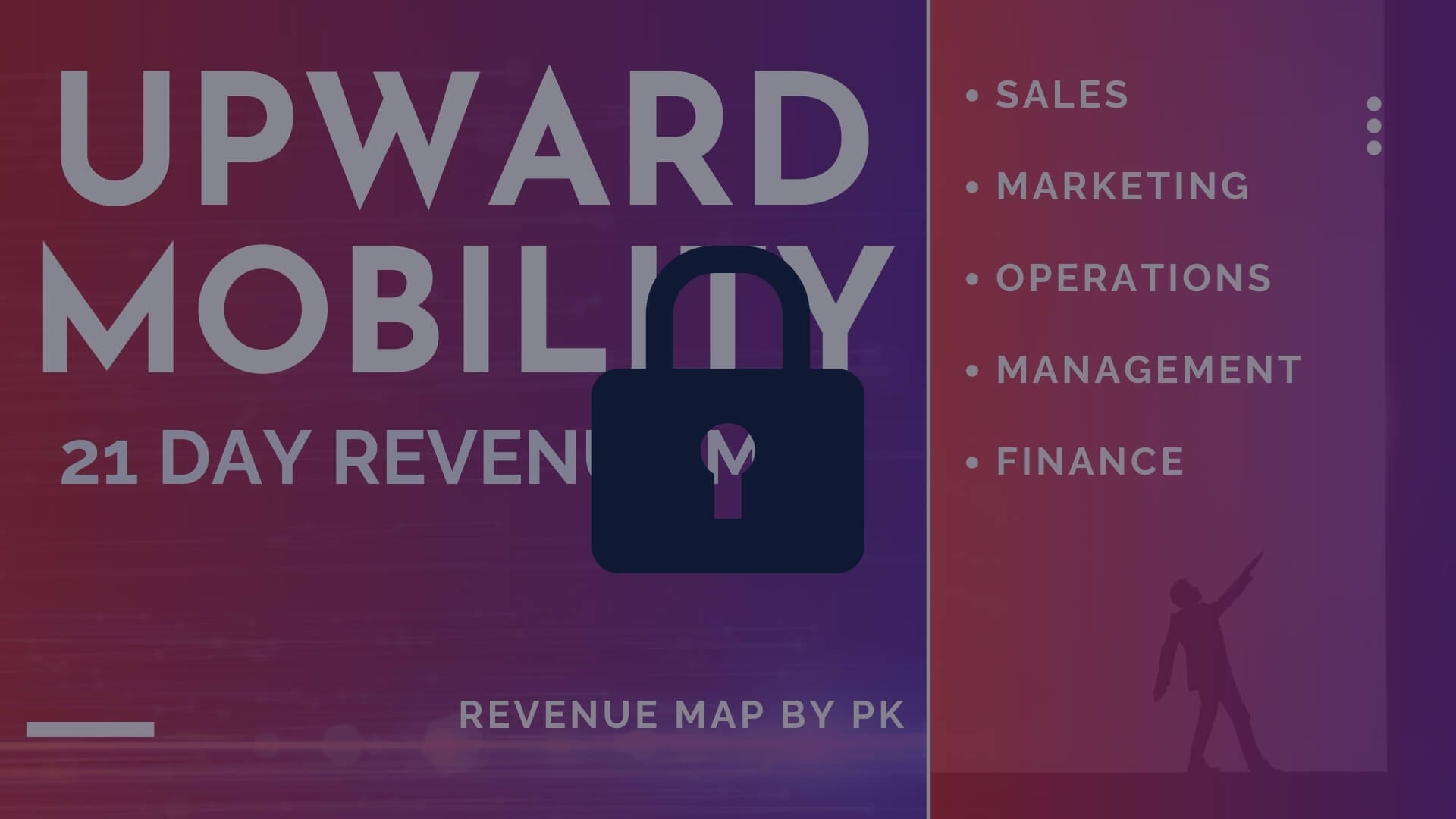 locked Upward Mobility 21 day revenue map by pk teaching sales marketing operations management and finance