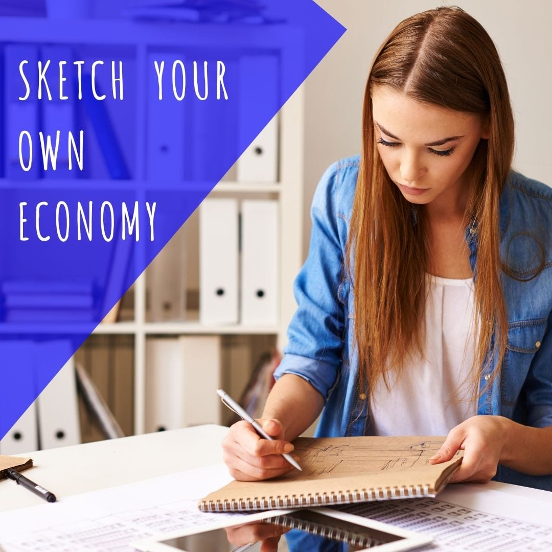 Sketch Your Own Economy. Cute brown haired girl drawing